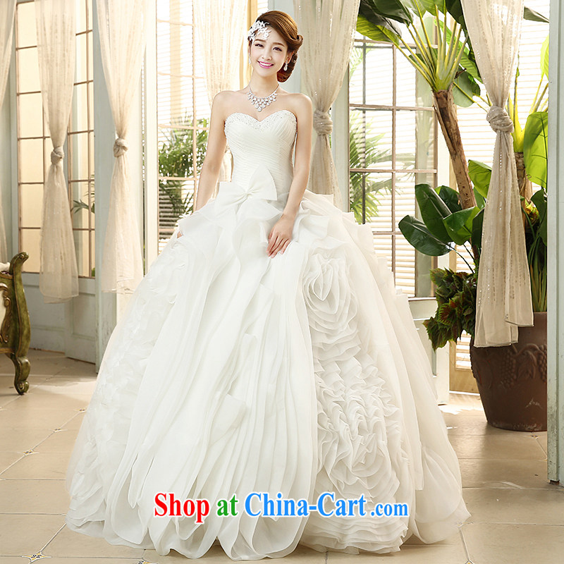 The United States and the 2015 spring and summer wedding dresses beauty bare chest retro tie bowtie Korean sweet Princess shaggy skirts H - 44 white XXL