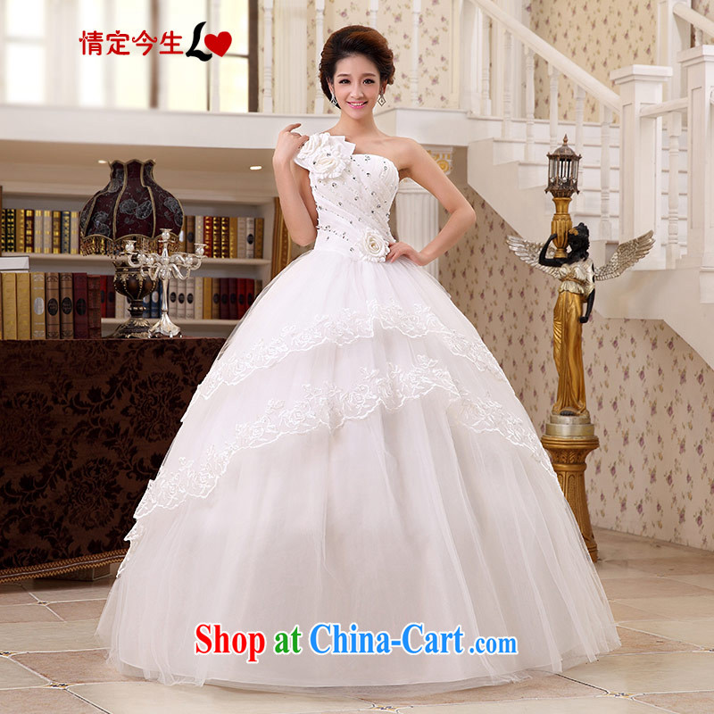 Love Life 2015 new water drilling flowers Korean Princess Mary Magdalene chest strap wedding white with wedding dresses wedding dress white L