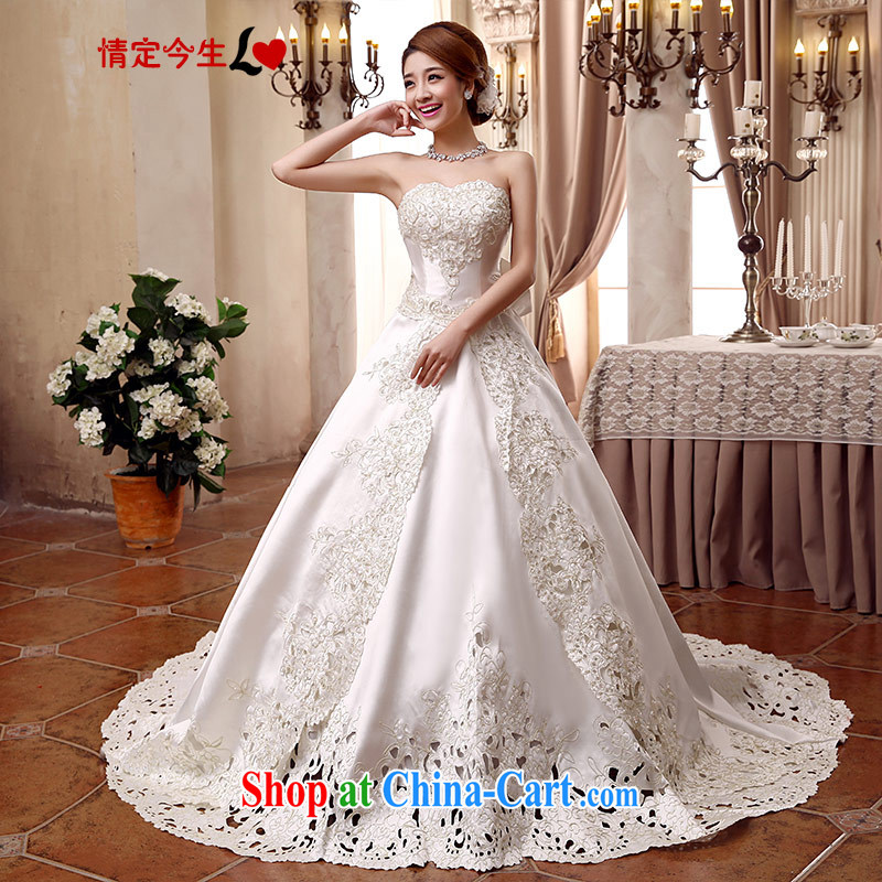 Love Life Korean-style wedding video thin 2015 new erase chest bridal with tail zig-zag Satin tie-waist-Princess skirt stays white tail strap, XXL 2 feet 3 waist