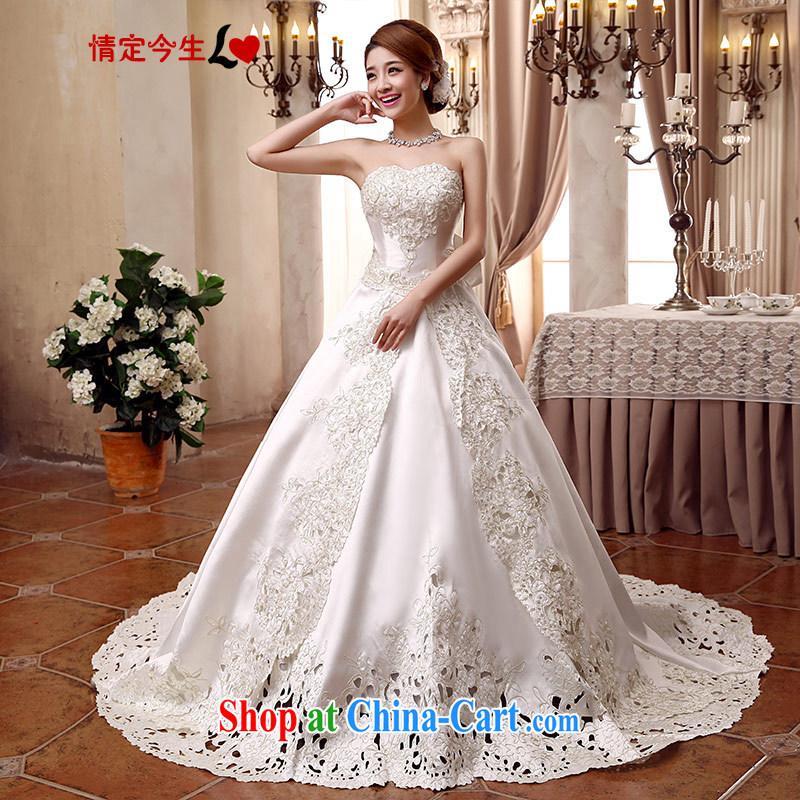 Love Life Korean-style wedding video thin 2015 new erase chest bridal with tail zig-zag Satin tie-waist-Princess skirt stays white tail strap, XXL 2 feet 3 waist