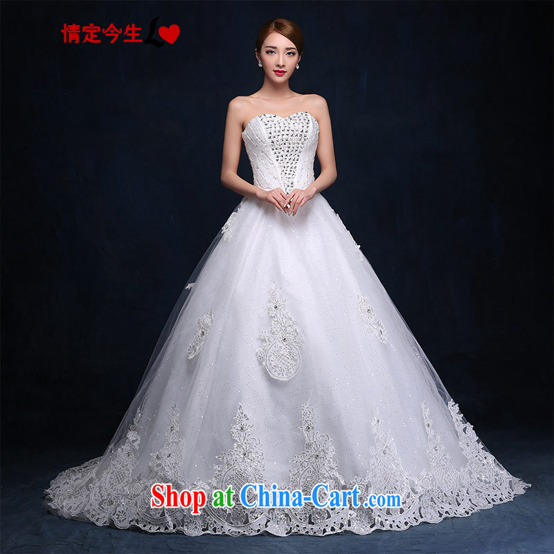 Love Life 3M deluxe and yarn tail wedding Korean version 2015 new large V collar sweet Princess bride parquet drill lace white XXL