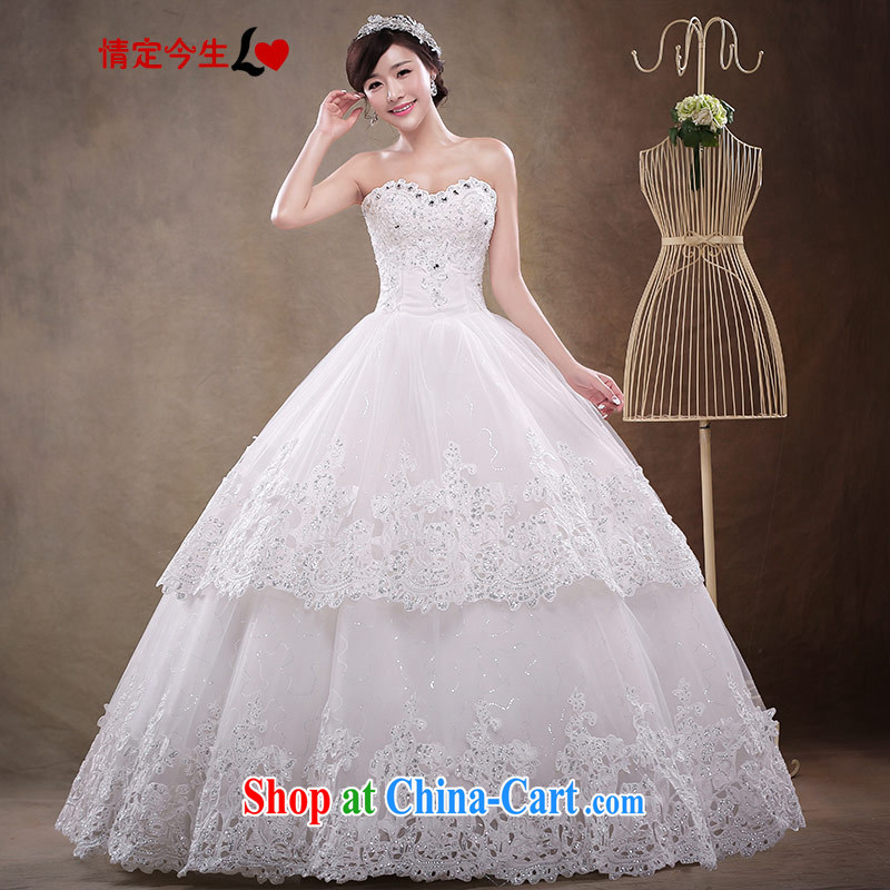 Love Life Korean sweet tie bridal wedding dresses 2015 summer new Princess shaggy dress heart-shaped deep V receipts waist-lace wiped chest white XXL