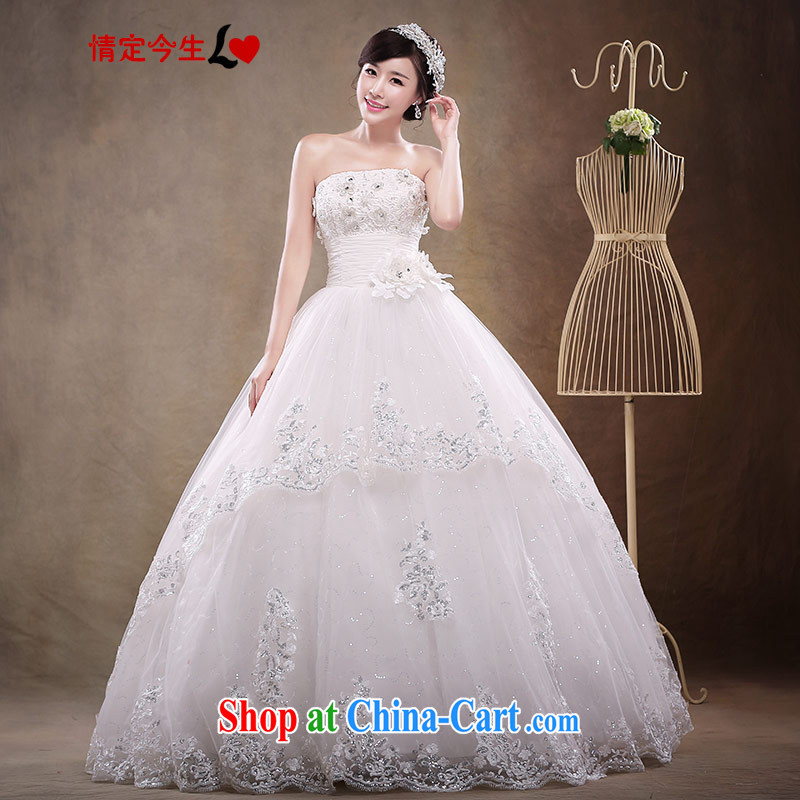 Love Life wedding dresses new, summer 2015 Korean bridal white beauty with bare chest sweet European root yarn A field dress wedding dress girls white XXL