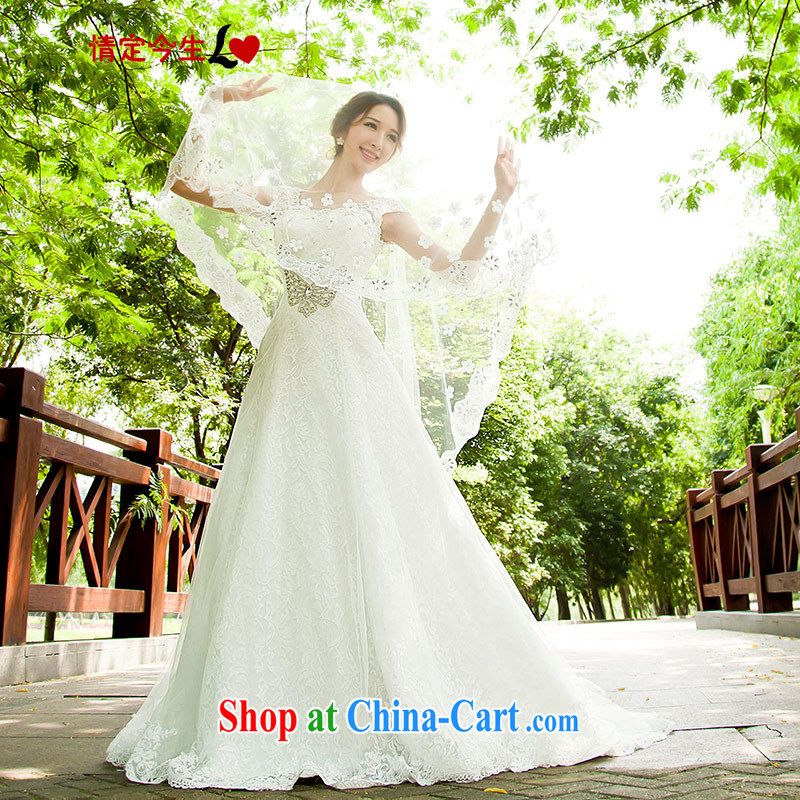 Love Life 2015 new wedding dresses Korean Beauty graphics thin smears chest crowsfoot trailing white lace-up waist-M white XXL