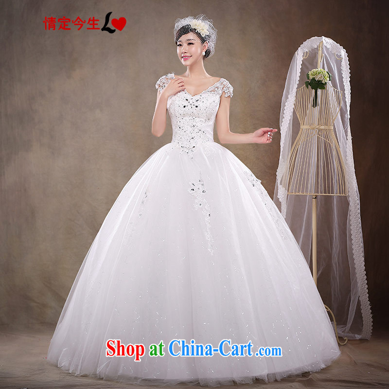 Love Life 2015 spring female white bridal New with antique Korean light V for wedding dresses and stylish lace, Ladies European root yarn white XXL
