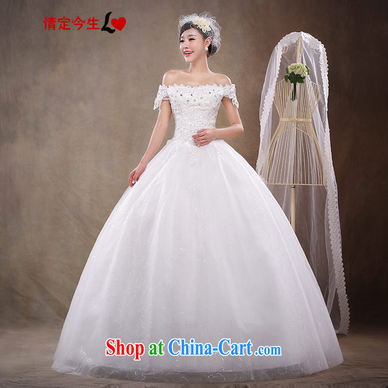 Love Life wedding 2015 new Korean fashion a Field shoulder sweet Princess skirt with bridal graphics thin lace-up waist-Princess skirt white XXL