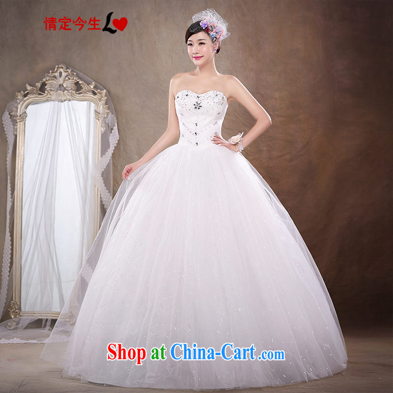 Love Life new 2015 Korean bridal white beauty with parquet drill wiped chest wedding sweet Princess skirt stays the waist graphics thin wedding dress girls white S