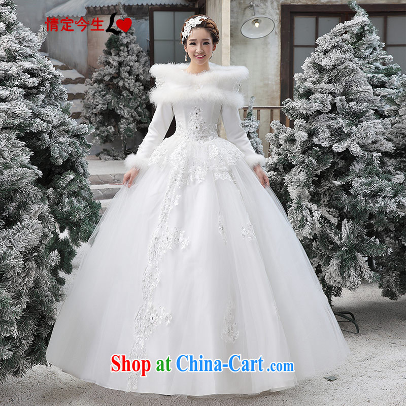 Love Life Korean Winter Wedding Dresses A Shoulder 2017 New Long Sleeved Wool Collar Thick