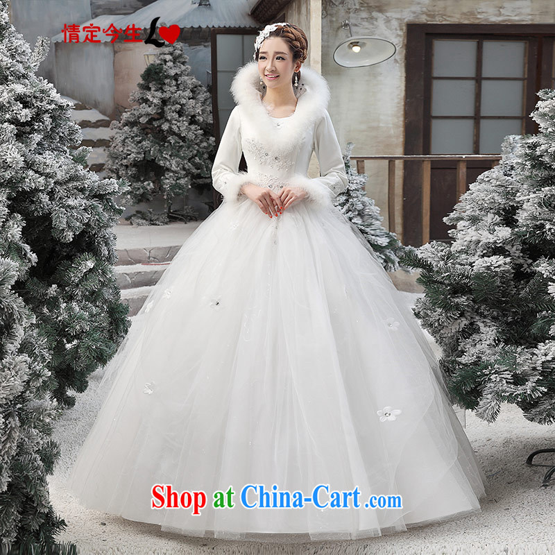 Love Life winter wedding dresses winter clothes 2015 new Korean winter long-sleeved wool collar thick winter, 04 cotton white XXL waist 2 feet 3