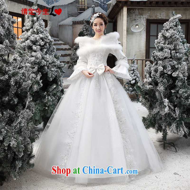 Love Life Korean wedding dresses 2015 New Field shoulder white winter thick marriages a waist larger wedding service white XXL
