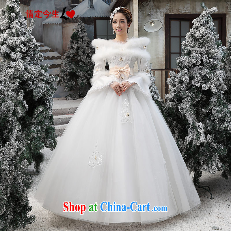 Love Life winter wedding dresses winter clothes 2015 new Korean winter long-sleeved wool collar thick winter, 07 cotton white XXL