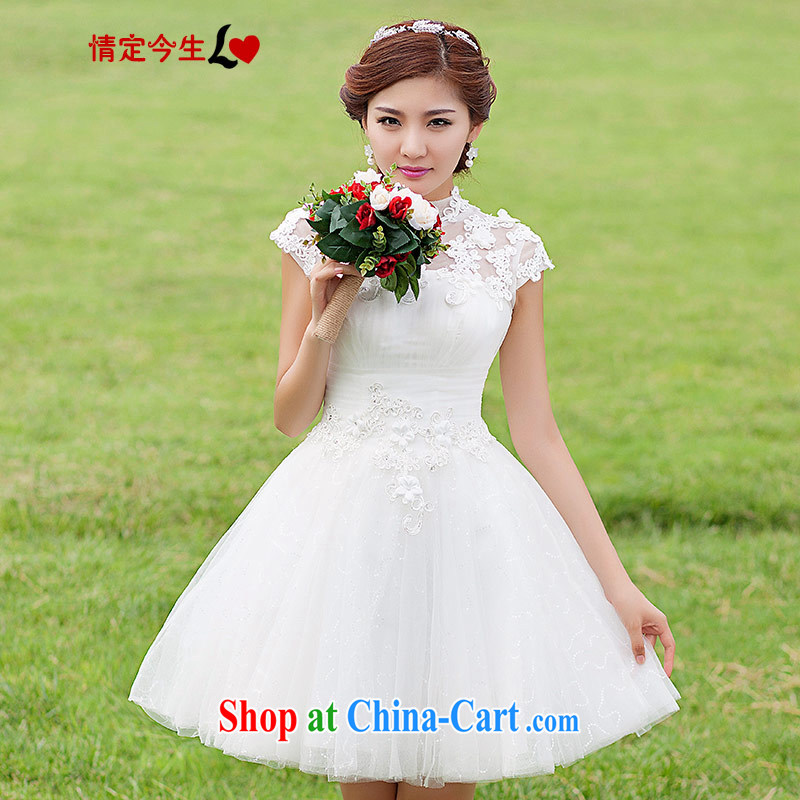 Love Life wedding dresses new 2015 short Korean brides field shoulder bridesmaid skirt small white lace-up waist-white L