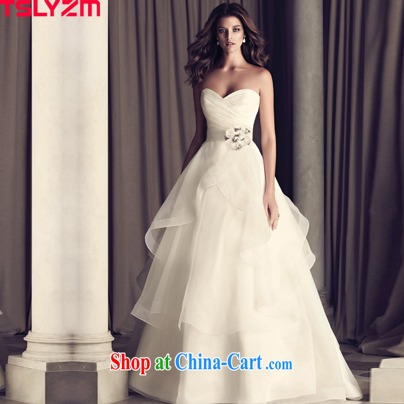 2015 new Europe and chest bare small tail wedding dresses bridal lace retro tie-water drilling video thin large code pregnant women custom European root yarn white L
