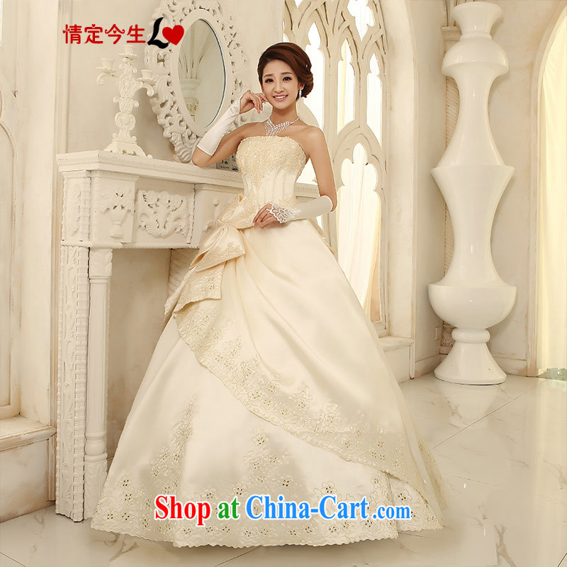 Love Life wedding dresses new 2015 Korean-style with bare chest Korean sweet summer, bow-tie-waist-wedding dress champagne color XS