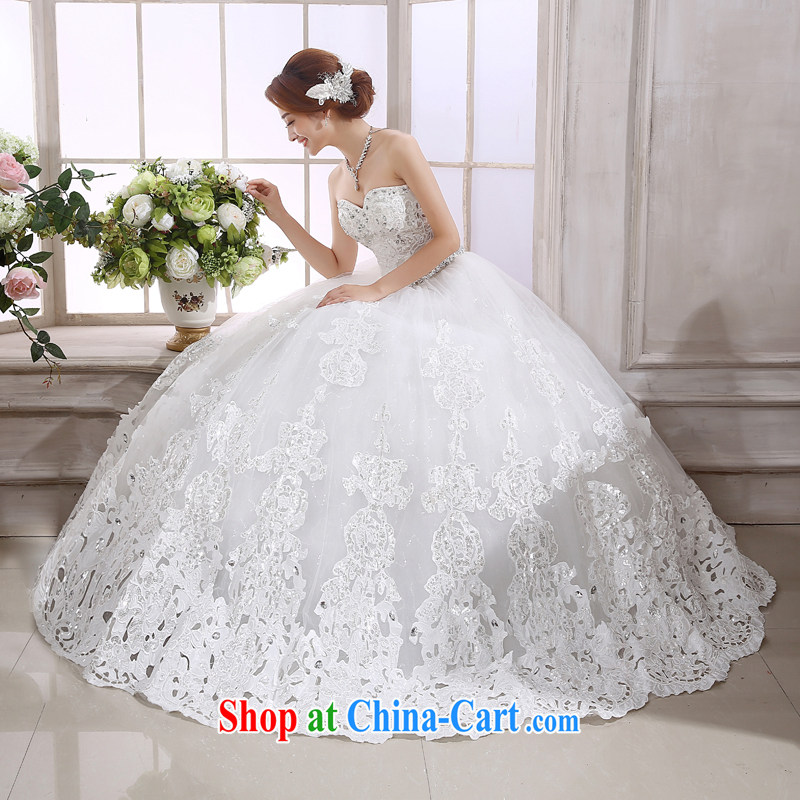 There is embroidery bridal wedding dresses new 2015 summer Korean white beauty with parquet drill wiped her chest white XL code 2 feet 2 waist Suzhou shipping