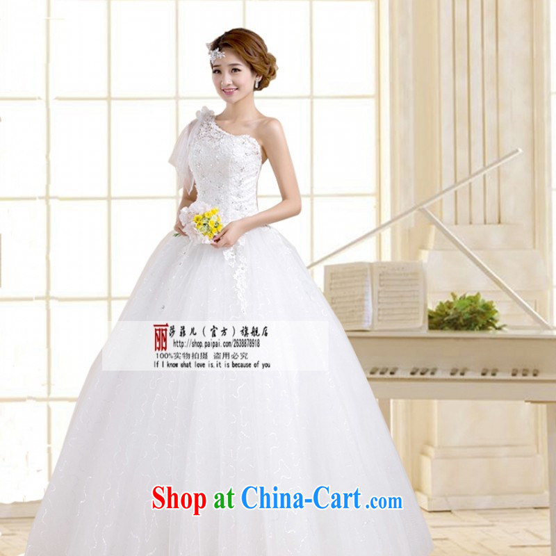 2014 new wedding dresses Korean version with single shoulder strap white wedding dresses and Stylish retro bridal wedding Customer to size up to be returned.
