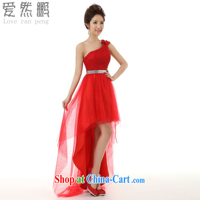 Love so Peng 2014 new Toast before serving short long dress bridal wedding dress long performances, serving red L pieced