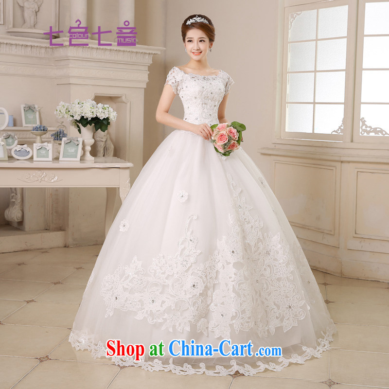 7 color 7 tone Korean version of the new, 2015 tie-in with a shoulder shaggy dress bridal Princess wedding dresses H 035 white with M