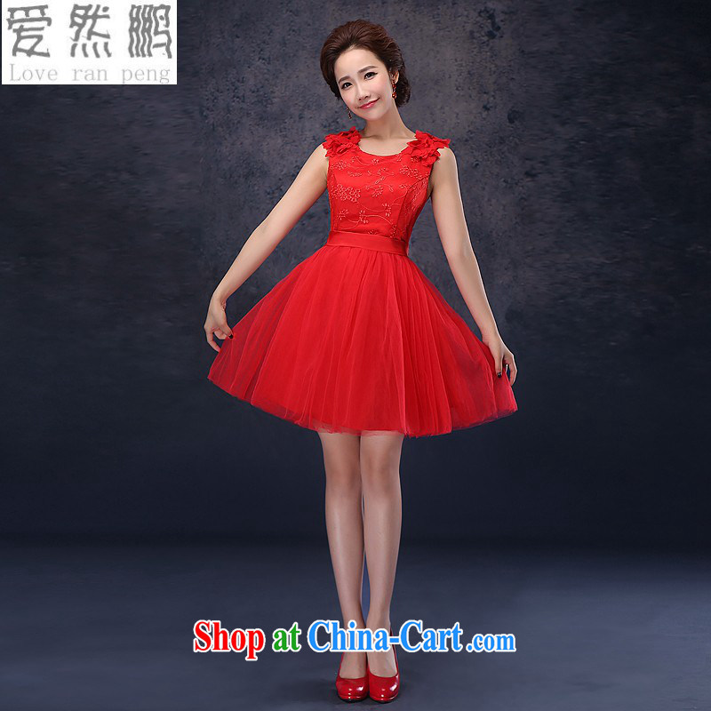 Love so Pang dress 2014 New Red bridal short wedding toast clothing dress Princess bridesmaid dresses small red L pieced