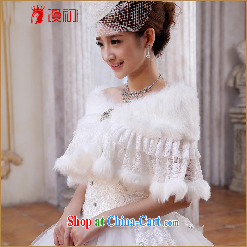 Early definition 2015 new Korean bridal wedding dresses shawls warm winter white lace hair shawl white