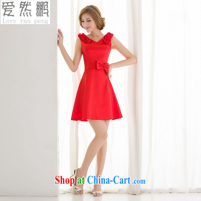 Love so Peng 2014 new bridesmaid short erase chest girls small dress dress bridal wedding wedding toast dinner dress zipper red XL pieced