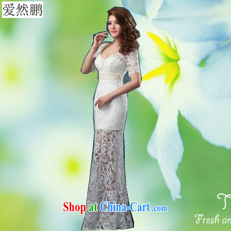 2014 new wedding dress cuff in wedding dresses fluoroscopy manually staple beads, length bridesmaid dresses, long white customers to size will not be returned.