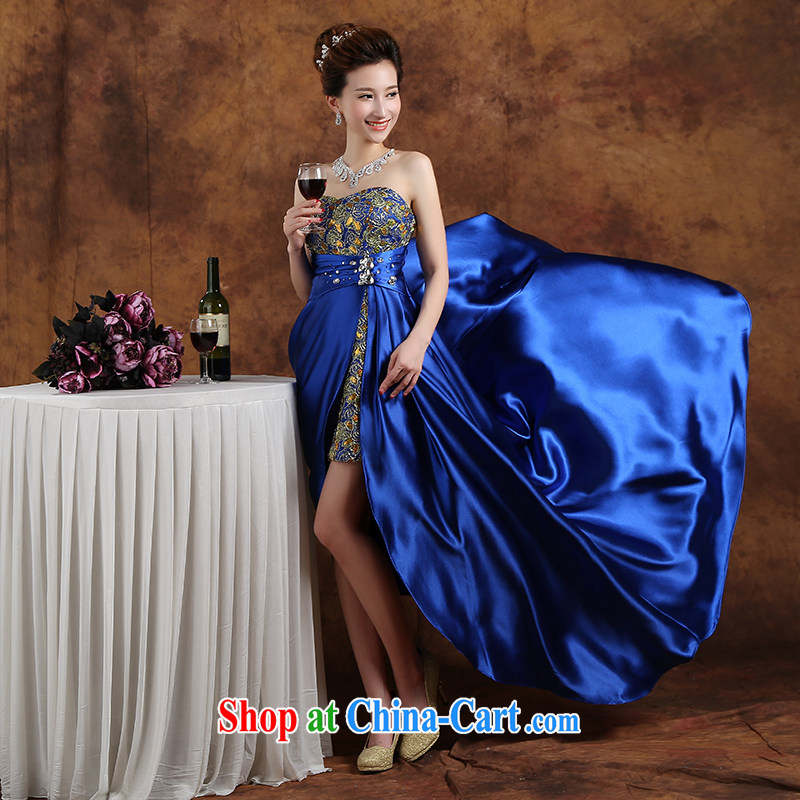 Qi wei wedding dresses 2015 summer new blue towel chest short long bridal toast clothing bridesmaid dress hosted service graduates serving blue XXL
