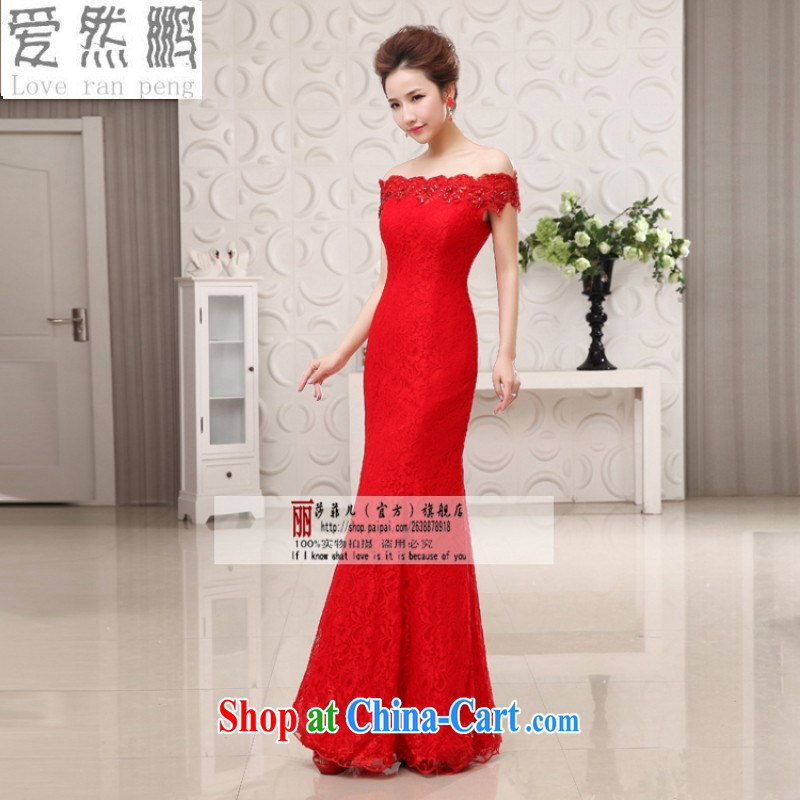 Love so Pang marriages served toast red long 2014 stylish crowsfoot dress lace cheongsam field shoulder uniforms M pieced