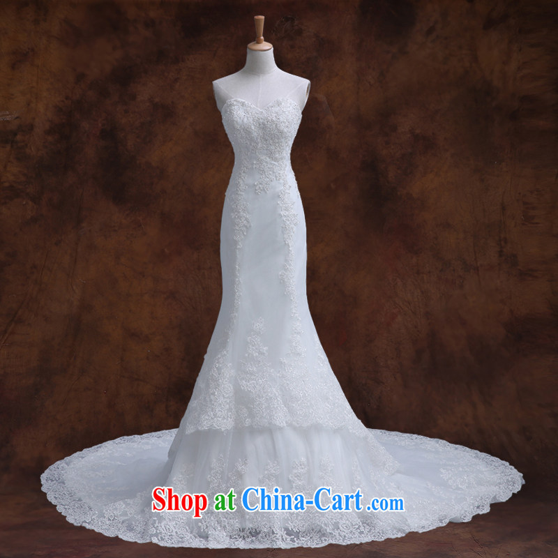 Qi wei wedding dresses new summer 2015 white bare chest wedding lace wedding dresses at Merlion wedding tie the code small tail wedding white S