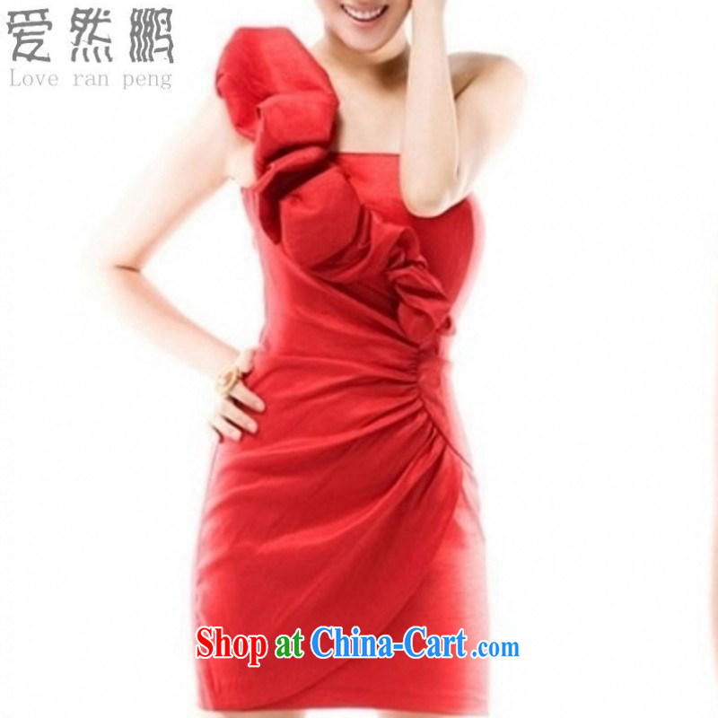 Love so Peng 2014 new autumn spring evening dress short, a single shoulder Korean sense of small dress bows dress dresses red customers to size up to do not return