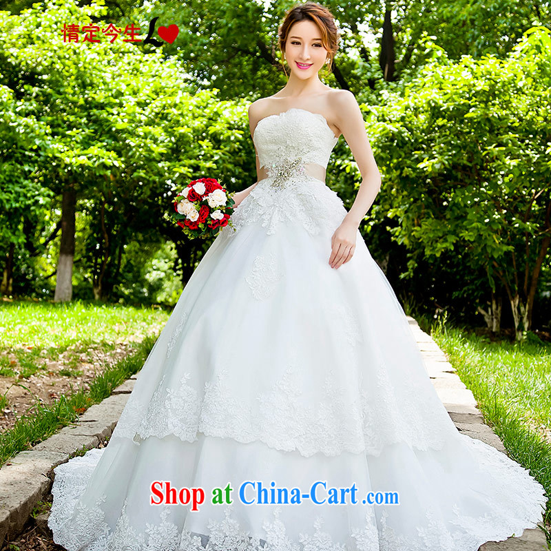 Love Life 2015 new Korean-style wedding tail dress wiped chest skirt bridal lace married women accessories tail, XXL