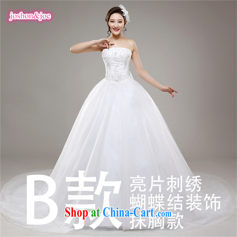 2015 new wedding dresses Princess Mary Magdalene chest lace, Royal retro-tail wedding white sexy elegant tail section B XXL