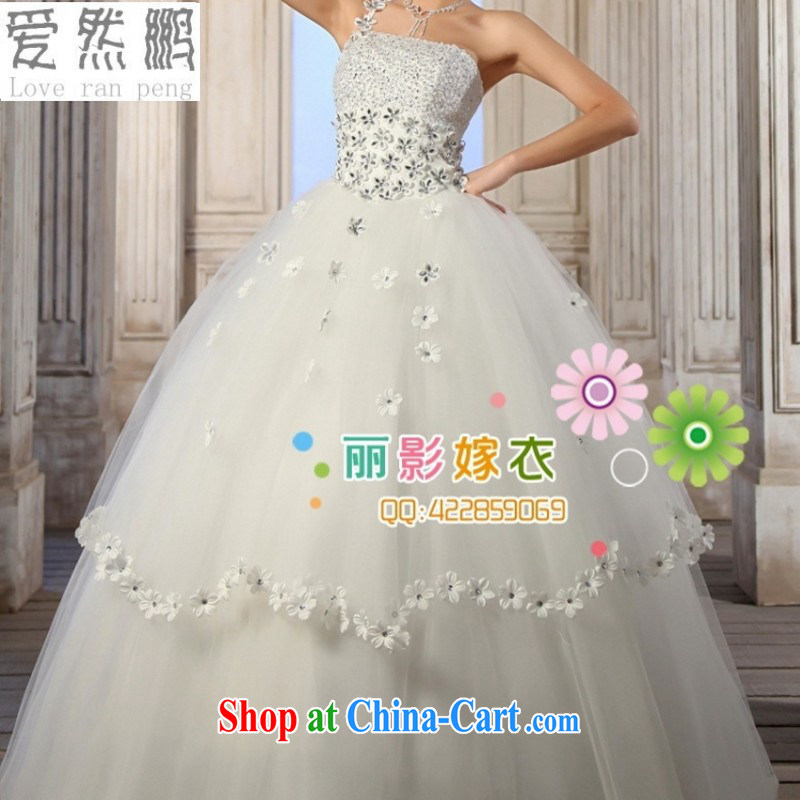 Love so Peng Han-style wedding dresses 2014 new single shoulder wedding dresses the shoulder sweet Korean version Princess elegant wedding dresses tied with Customer to size the Do not be returned.