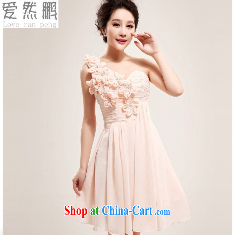 Love so Pang Korean single shoulder pink brides with wedding small wedding dresses short Princess bridesmaid service 2014 new 5177 customer for this size will be not be returned.