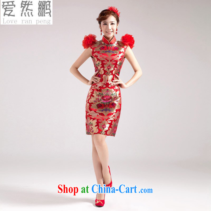 Love, Norman summer 2014 NEW Improved short red cheongsam dress double-shoulder three-dimensional flowers wedding dresses short dresses, customer size will not be returned.