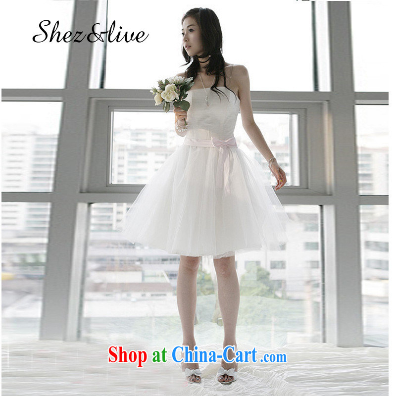 shez & live female bridal wedding short bows small dress short bridesmaid clothing bridesmaid dress dress evening banquet moderator shaggy Princess skirt pink S