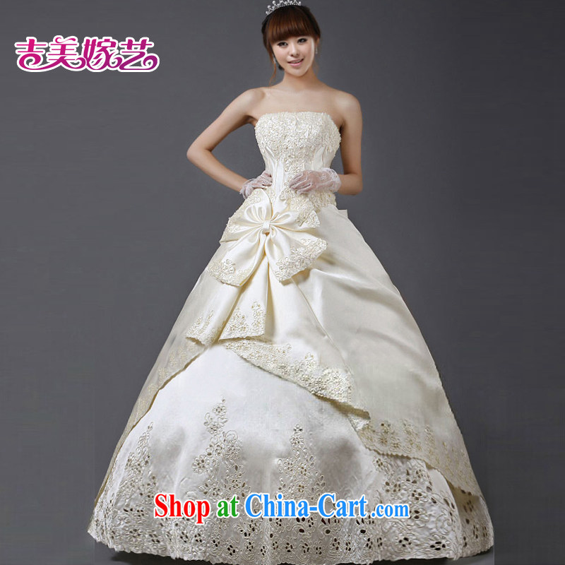 wedding dresses Jimmy married arts 2015 new erase chest Korean shaggy dress with HS 403 bridal wedding champagne color XL