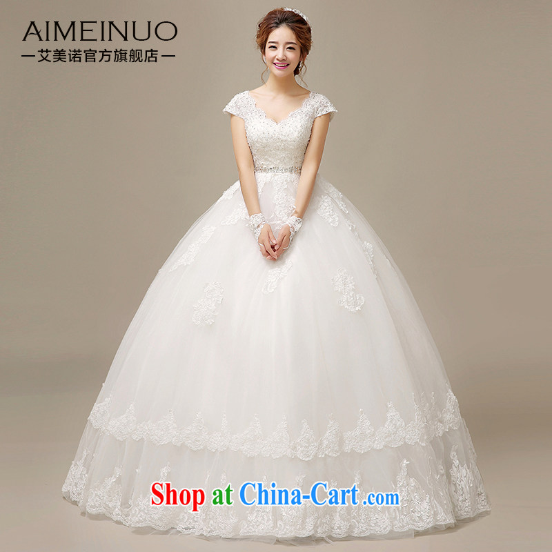 The United States, wedding dresses 2015 new Korean bridal wedding lace flowers double-shoulder a shoulder strap beauty graphics thin with H - 52 white XL