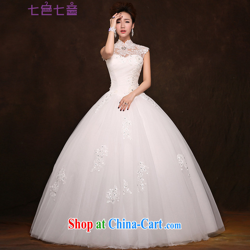 7 color 7 tone Korean version 2015 new retro, a field shoulder shaggy dress lace package shoulder wedding bridal wedding dresses H 037 white XL