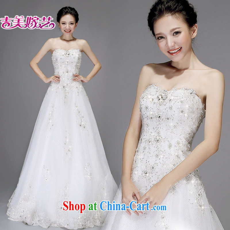 wedding dresses Jimmy married arts 2015 new Princess Korean chest bare water drilling with HS 7527 bridal wedding white XL