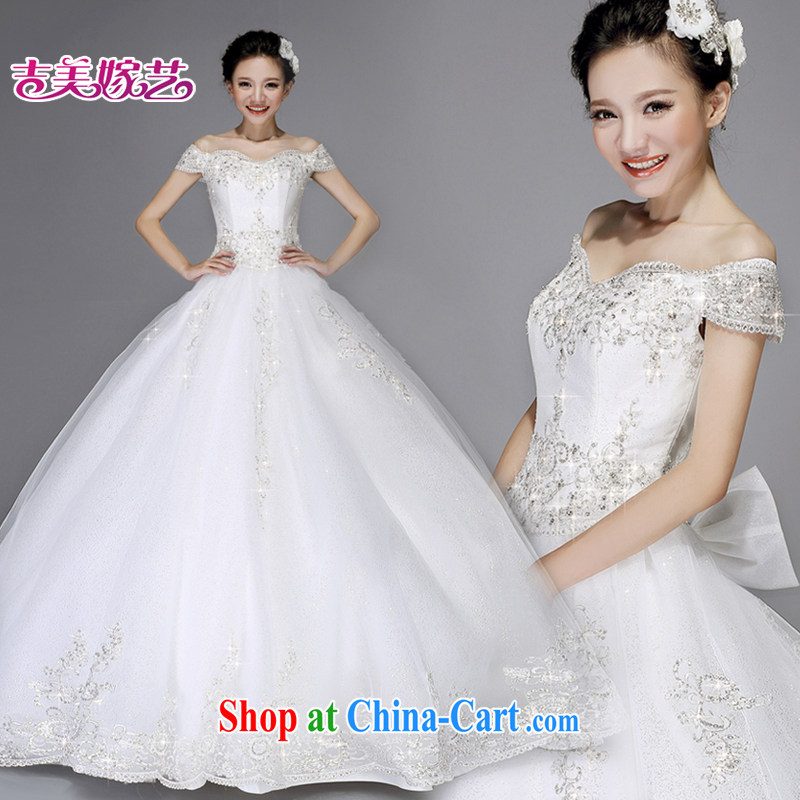wedding dresses Jimmy married arts 2015 new Princess Won a Version field shoulder on-chip beads with 7529 HS wedding white XXXL