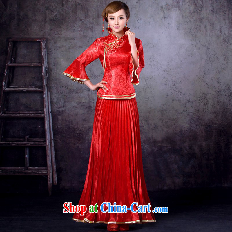 Mrs Alexa Lam unpunished new marriage wedding dresses bridal red Chinese bows clothes, collar package improved cheongsam 13,258 red XXXL