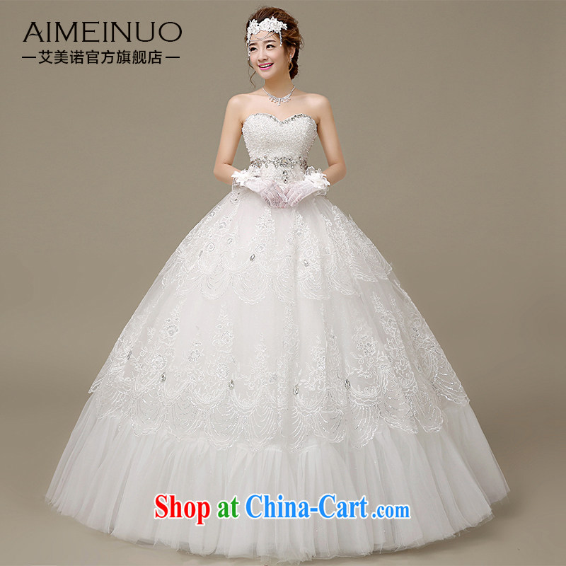 The United States, wedding dresses 2015 spring and summer water drilling erase chest lace, tied with Korean version with Princess bride wedding H - 48 white XL