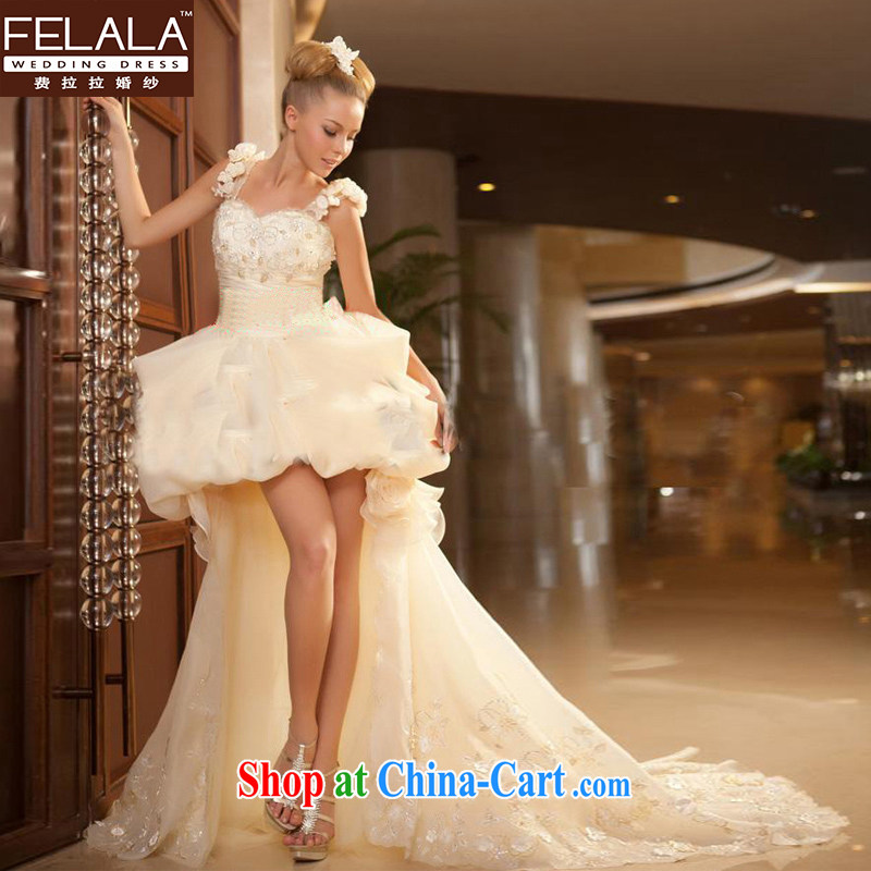 Ferrara 2015 new Europe short before dragging after flowers wedding dresses spring short before long-tail female champagne color L Suzhou shipping