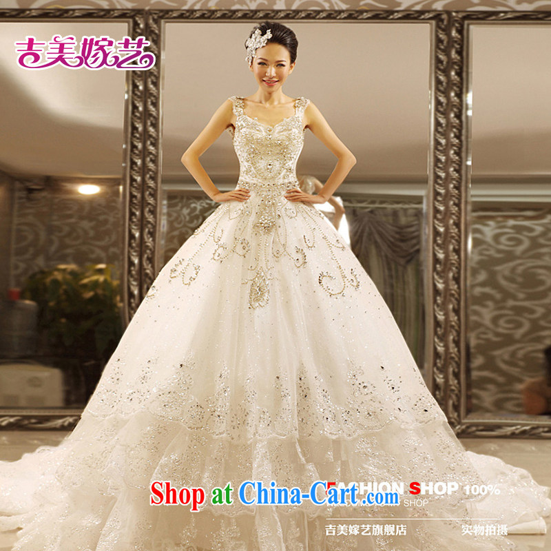 wedding dresses Jimmy married arts 2015 new Princess Korean shoulders water drill tail HT 7069 bridal wedding 1.5 M tail. XXL