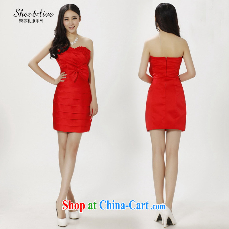Shez &live female 2014 bridal wedding bridesmaid wiped small dress Mary Magdalene Beauty Chest graphics thin toast short performances, serving red XXL