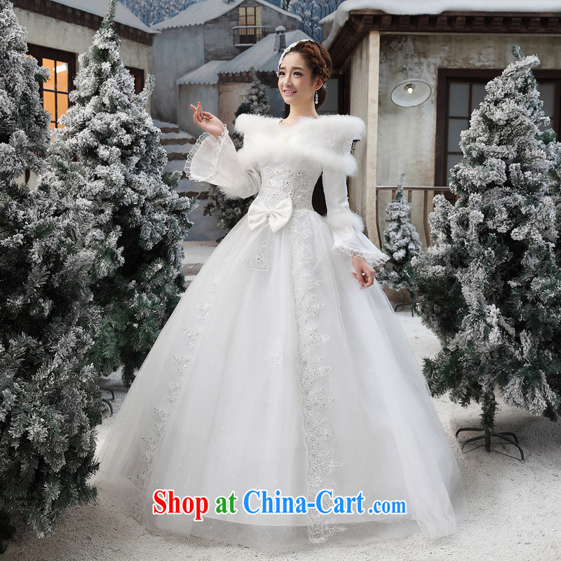 With winter wedding dresses winter clothes 2014 new Korean wedding winter long-sleeved wool collar thick winter, cotton customer for this size will not be returned.