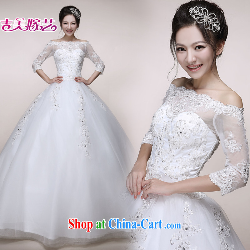 wedding dresses Jimmy married arts 2014 New Field shoulder shaggy skirts HS 7515 with bridal wedding white XXL