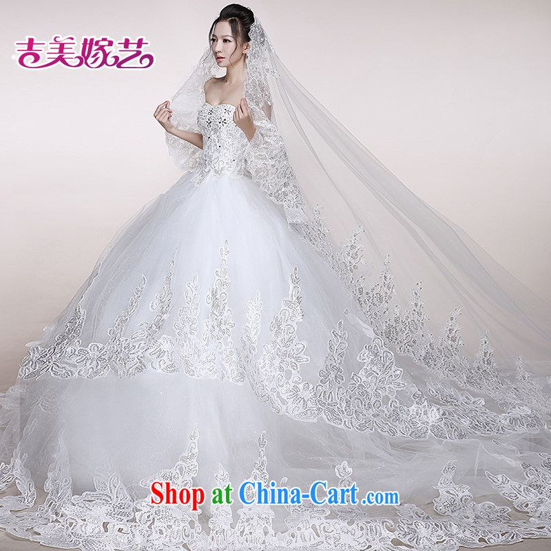 wedding dresses Jimmy married arts 2014 new erase chest Korean wedding canopy skirts tail HS 7523 bridal wedding ivory tail XXL