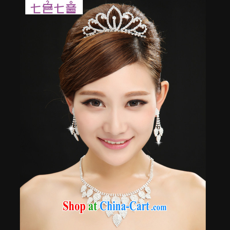 7 color 7, Korean-style wedding accessories silver leaves hair accessories bridal jewelry and wedding jewelry 3-piece kit white are code